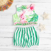 Fashionable Floral Print Striped Top and Shorts Set for Sibling