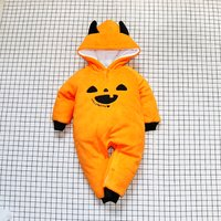 Stylish HALLOWEEN Hooded Long-sleeve Jumpsuit in Yellow for Babies