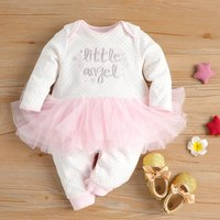 Fashionable Little Angel Embroidery Long-sleeve Jumpsuit for Baby Girls