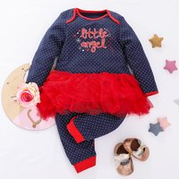 "Cuteness   ""little angel"" Dotted Tulle Jumpsuit for Baby Girl"