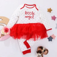 "Pretty  ""little angel"" Patterned Tulle Jumpsuit for Baby Girl"