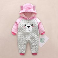Cute  Bear Hooded Contrast Jumpsuit for Babies