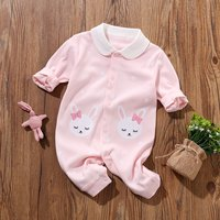 Lovely Bunny/ Panda Print Dotted Doll Collar Long-sleeve Jumpsuit for Baby