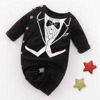 Handsome Suit Design Long-sleeve Jumpsuit in Black for Baby Boy