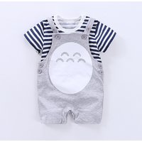 Baby's Grey Striped & Totoro Graphic Tee & Overalls Set