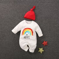 2-piece I'M HAPPY Rainbow Printed Jumpsuit and Hat Set