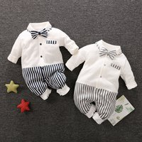 Strips Long-sleeve Baby Jumpsuit with Handsome Bowtie