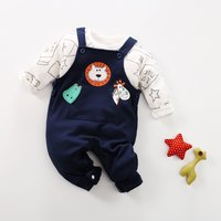 2-piece Milk Bottle Pattern long-sleeve Top and Lion Overall Pants Set