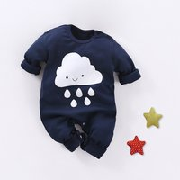 Cute Patterned Long Sleeve Jumpsuit in Navy for Baby