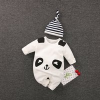 2-piece Panda Long Sleeve Jumpsuit and Stripes Hat Set for Baby and Newborn