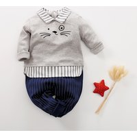 Baby Boy's Cute Cat Faux-two Long Sleeve Jumpsuit