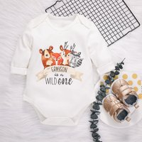 Adorable Animal Print Long-sleeve Bodysuit in White for Baby