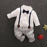 Baby Boy's Grace Faux-two Long Sleeve Jumpsuit in White