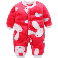 Lovely Rabbit Print Long-sleeve Red Jumpsuit for Newborn/Baby Unisex