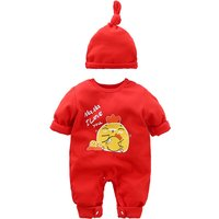 Baby's Lovely Ma Ma I Love You and Chicken Printed Jumpsuit in Red