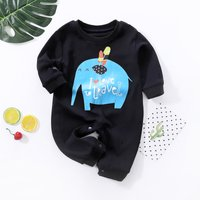 Lovely Elephant Print Long-sleeve Black Jumpsuit for Baby