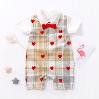 Handsome Plaid Bow Tie Jumpsuit for Baby Boy