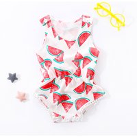 Sweet Watermelon Tassel Sleeveless Bodysuit for Baby Girl