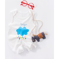 Cute Cloud and Drops Sleeveless Jumpsuit for Baby