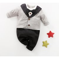 Faux-two Gentleman Suit Style Long-sleeve Jumpsuit for Baby Boy