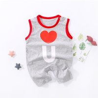 Trendy Heart Print Sleeveless Letter Jumpsuit for Toddlers