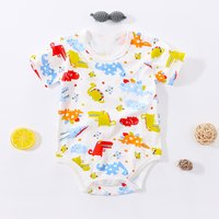 Adorable Dinosaur Print Short-sleeve Bodysuit for Baby Boy