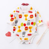 Bright Animal Print Long-sleeve Bodysuit in White for Baby Girl