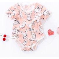 Cute Rabbit Print Short-sleeve Bodysuit for Baby