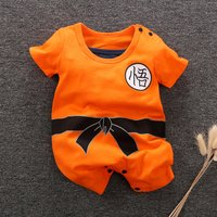 Cool Chinese Wu Print Short-sleeve Jumpsuit in Orange for Baby