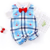 Handsome Anchor Print Plaid Short Sleeves Jumpsuit for Baby Boy