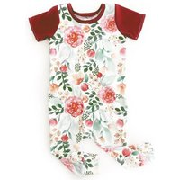 Fashion Floral Short-sleeve Jumpsuit with Footie for Baby Girl