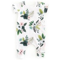 Sweet Floral Short Sleeve Jumpsuit for Baby Girl
