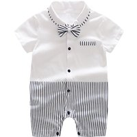 Trendy Color-blocking Striped Bow Tie Short-sleeve Romper in White for Baby Boy