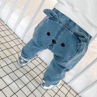 Cute Bear Applique Jeans for Baby Boy