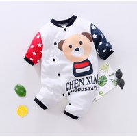 Adorable Bear Print Long-sleeve Bodysuit for Baby Boy