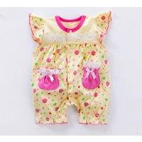 Lovely Strawberry Print Ruffle Sleeveless Romper for Baby Girl