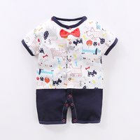 Stylish Color-blocking Cartoon Print Bow Tie Short-sleeve Jumpsuit for Newborn and Baby Boy