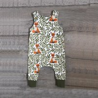 Trendy Fox and Leaf Print Sleeveless Jumpsuit for Baby Boy