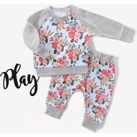 2-piece Floral Long-sleeve Top and Pants Set for Baby Girl