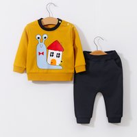 2-piece Stylish Snail Print Long-sleeve Pullover and Pants for Baby
