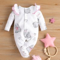 Cutie Rabbit Printed Long-sleeve Jumpsuit for Baby