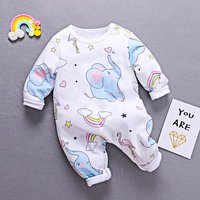 Fashionable Elephant Printed Long-sleeve Jumpsuit for Baby