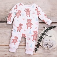 Cutie Bear Printed Long-sleeve Jumpsuit for Baby