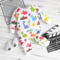 Lovely Dinosaur Printed Long-sleeve Jumpsuit for Baby