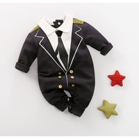 Stylish Gentleman Design Button Decor Long-sleeve Jumpsuit for Baby