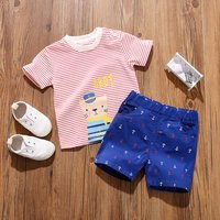 Casual Captain Cat Striped Tee and Anchor Print Shorts Set for Baby and Toddler Boy