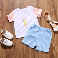 Casual Ice Cream Plaid Tee and Stars Shorts Set for Baby and Toddler