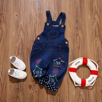 Stars Applique Letter Embroidered Denim Overalls for Baby