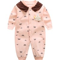 Stylish Crown Print Ruffled Long-sleeve Jumpsuit in Pink for Baby Girl