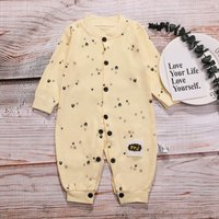 Stylish Cartoon Print Long-sleeve Jumpsuit in Yellow for Baby